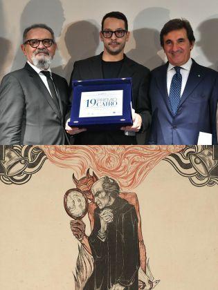 Sopra, Fabrizio Cotognini premiato alla XIX edizione del Premio Cairo; sotto, Faust e Mefistofele in una locandina teatrale in stile Liberty