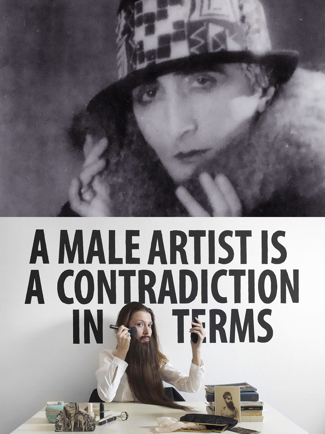 Sopra, Marcel Duchamp interpreta il suo alter ego femminile preferito; sotto Chiara Fumai fa altrettanto
