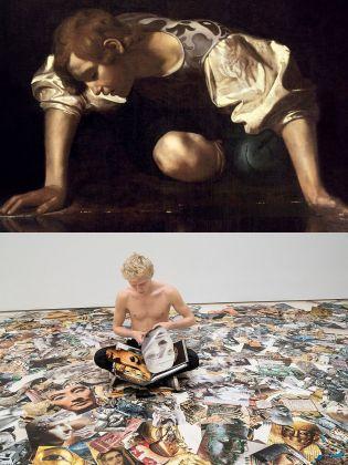 Sopra, il Narciso di Caravaggio; sotto, una performance di Marcello Maloberti