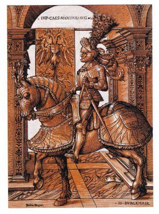 Stephan Füssel – Theuerdank (Taschen, Colonia 2018). Hans Burgkmair, L'Imperatore Massimiliano I in armatura a cavallo, 1508