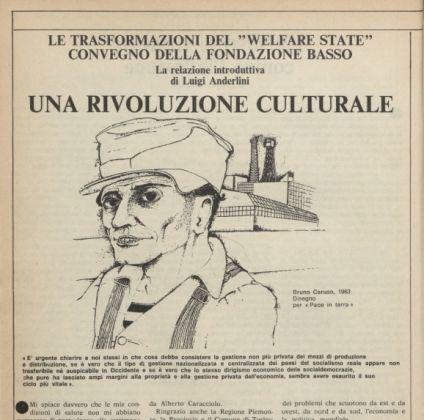 Un'illustrazione di Bruno Caruso su L'Astrolabio, quindicinale, n° 1, 9 gennaio 1982