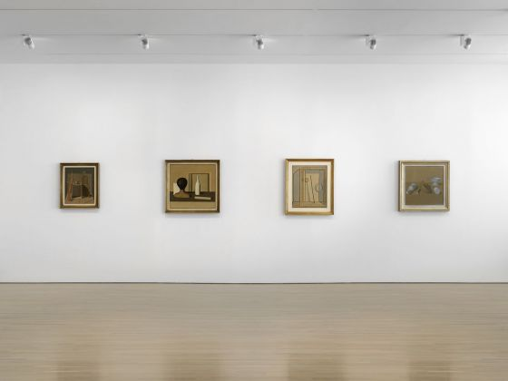 "Installation view of works by Giorgio Morandi in ""Metaphysical Masterpieces: Morandi, Sironi, and Carrà"" at the Center for Italian Modern Art. Photo Dario Lasagni"