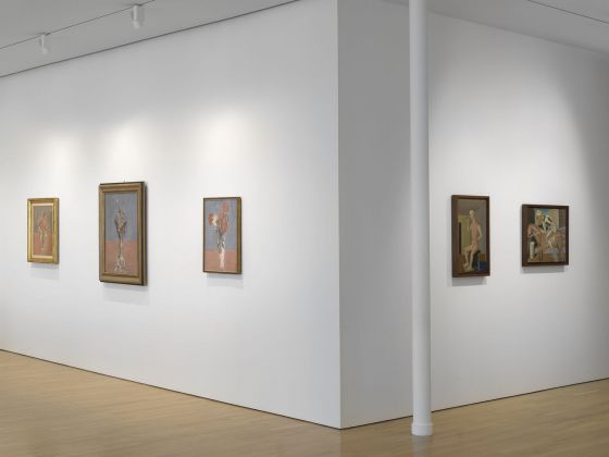 "Installation view of works by Giorgio Morandi and Carlo Carrà in ""Metaphysical Masterpieces: Morandi, Sironi, and Carrà"" at the Center for Italian Modern Art. Photo Dario Lasagni"