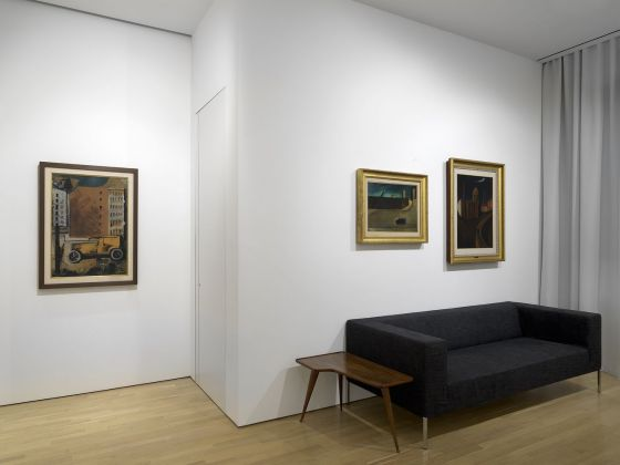 "Installation view of works by Mario Sironi in ""Metaphysical Masterpieces: Morandi, Sironi, and Carrà"" at the Center for Italian Modern Art. Photo Dario Lasagni"