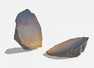Rendering di Sarah Sze, Split Stone (7:34), 2018, granito, acciaio inossidabile, resina, e pigmenti, in 2 parti, sinistra: 92.1 × 112.4 × 79.7 cm, destra: 95.9 × 125.1 × 69.5 cm