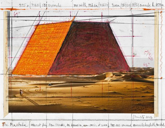 Christo, The Mastaba (Project for Abu Dhabi, Al Gharbia, near Oasis of Liwa), Collage 2012, 21.5 x 28 cm, pencil, wax crayon, photograph by Wolfgang Volz, enamel paint and tape. Photo: André Grossmann © 2012 Christo