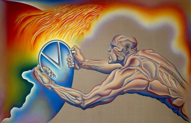 Judy Chicago, Driving the World to Destruction, from PowerPlay, 1985; 108 x 168 in. Sprayed acrylic and oil on Belgian linen © Judy Chicago/Artists Rights Society (ARS) New York Photo Donald Woodman/ARS NY. Courtesy the artist; Salon 94, New York; and Jessica Silverman Gallery, San Francisco.