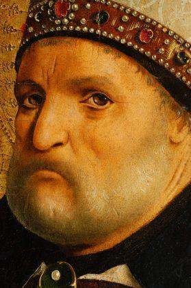 Antonello da Messina, San Benedetto dal Polittico di San Benedetto, 1471-1472. Olio su tavola di pioppo, 105 x 43,5 cm. Galleria degli Uffizi (in deposito dalla Regione Lombardia) Firenze