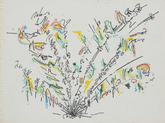 Gordon Matta-Clark Carmen's Fan 1, 1971 Inchiostro e pastelli su carta. Verso: Disegno di Kai Peronard. Courtesy Harold Berg