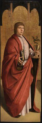 Antonello da Messina, San Giovanni evangelista dal Polittico di San Benedetto, 1471-1472. Olio su tavola di pioppo, 114,3 x 38,5 cm. Galleria degli Uffizi Firenze