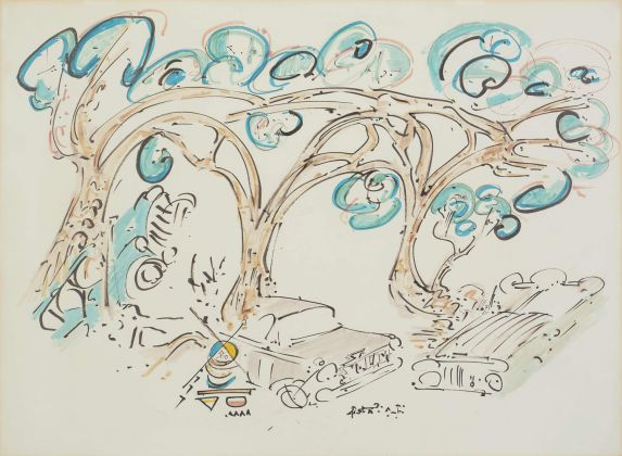 Gordon Matta-Clark, Jacks (trees and cars), 1971-1972, Inchiostro nero e pennarelli colorati su carta. Courtesy Harold Berg