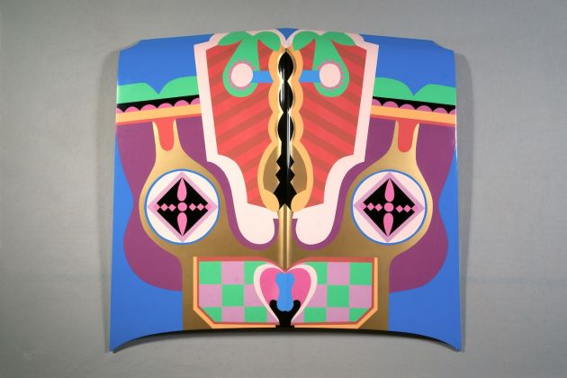 Judy Chicago, Birth Hood, 1965/2011; Sprayed automotive lacquer on car hood, 43 x 43 x 4 1/8 in;© Judy Chicago/Artists Rights Society (ARS), New York.Courtesy Salon 94, New York, and Jessica Silverman Gallery, San Francisco