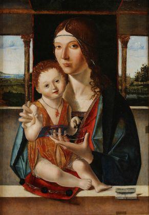 Jacobello di Antonello, Madonna con il Bambino, 1480. Olio su tavola di quercia 64 x 44 cm, Accademia di Carrara, Bergamo