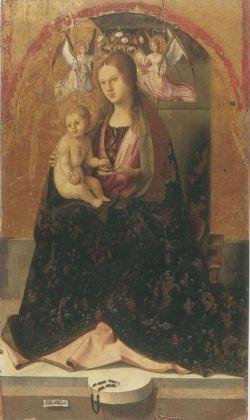 Antonello da Messina, Madonna col Bambino in trono dal Polittico di San Gregorio, 1472-1473. Tempera grassa su tavola 129 x 77 cm. Museo Regionale Messina