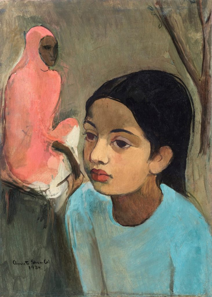 Amrita Sher-Gil, The Little Girl in Blue (1934). Courtesy of Sotheby's