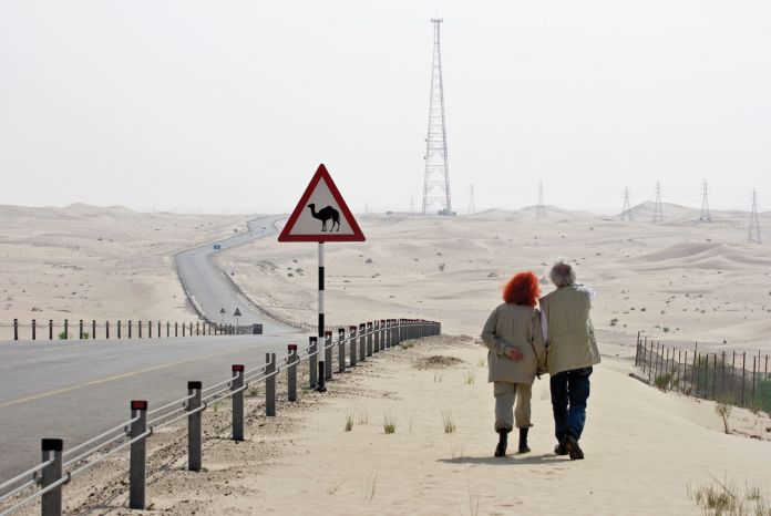 Christo and Jeanne-Claude looking for a possible site for The Mastaba, February 1982. Photo: Wolfgang Volz © 1982 Christo