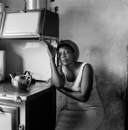 David Goldblatt, Patience Poni visiting her parents, Ruth and Jackson Poni, 1510A Emdeni South, Soweto 1972, silver gelatin photograph on fibre-based paper. Image courtesy Goodman Gallery, Johannesburg and Cape Town © The David Goldblatt Legacy Trust