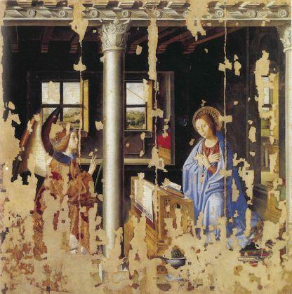 Antonello da Messina, Annunciazione, 1474. Olio su tavola di noce trasportata su tela, 180 x 180 cm. Galleria Regionale di Palazzo Bellomo, Siracusa