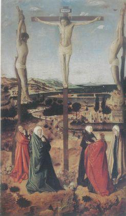 Antonello da Messina, Crocifissione 1465 circa. Tempera (?) su tavola in legno di frutto, 39,4 x 23,1 cm. Museul National Brukenthal Sibiu, Romania