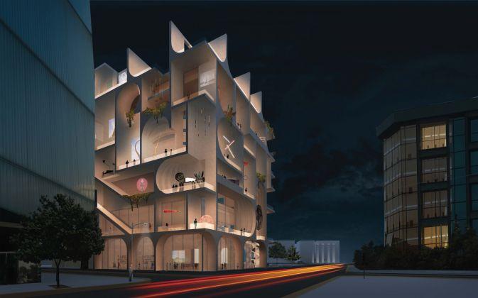 Night Rendering, BeMA: Beirut Museum of Art, designed by WORKac