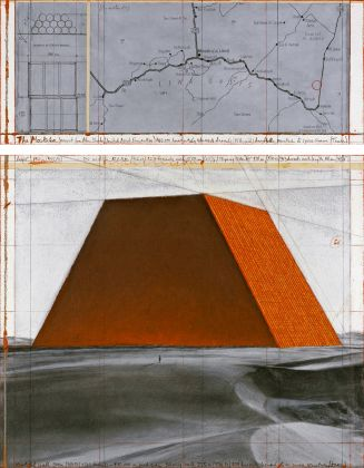 Christo, The Mastaba (Project for Abu Dhabi, United Arab Emirates), Drawing 2013, in two parts 30.5 x 77.5 cm and 66.7 x 77.5 cm, pencil, charcoal, pastel, wax crayon, enamel paint, hand-drawn map and technical data and tape. Photo: André Grossmann © 2013 Christo
