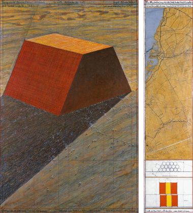 Christo, The Mastaba (Project for Abu Dhabi, United Arab Emirates), Drawing 2013, in two parts 165 x 106.6 cm and 165 x 38 cm, pencil, charcoal, wax crayon, pastel, hand-drawn technical data and map, enamel paint, wash and tape. Photo: André Grossmann © 2013 Christo