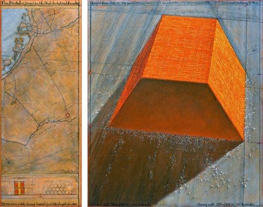 Christo, The Mastaba (Project for Abu Dhabi, United Arab Emirates), Drawing 2013, in two parts 77.5 x 30.5 cm and 77.5 x 66.7 cm, pencil, charcoal, pastel, wax crayon, enamel paint, hand-drawn map and technical data and tape. Photo: André Grossmann © 2013 Christo