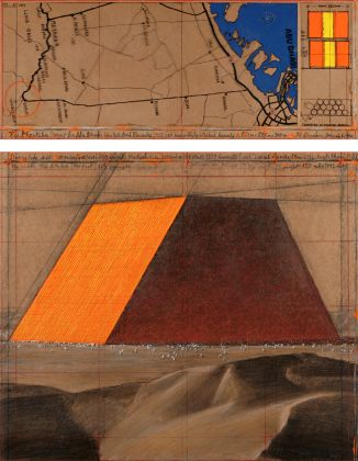 Christo, The Mastaba (Project for Abu Dhabi, United Arab Emirates), Collage 2014, in two parts 30.5 x 77.5 cm and 66.7 x 77.5 cm, pencil, charcoal, pastel, wax crayon, enamel paint, hand-drawn map and technical data on rodoid and tape on brown board. Photo: André Grossmann © 2014 Christo