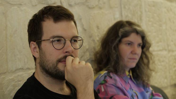 """Robert Leckie e Rana Hamadeh durante il workshop """"Ricerche sensibili"""" Q-Rated Lecce 2018. Foto Cliché, courtesy Fondazione La Quadriennale di Roma"""