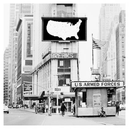 "Alfredo Jaar. A Logo for America (1987). Pigment print mounted on dibond. 36"" x 36"" each : 91.4 x 91.4 cm. Courtesy Galerie Lelong & Co., and the artist"