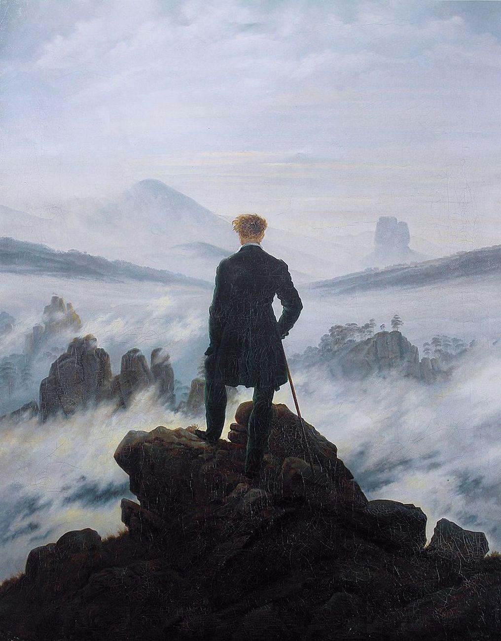 Caspar David Friedrich, Viandante sul mare di nebbia, 1818. Hamburger Kunsthalle, Amburgo
