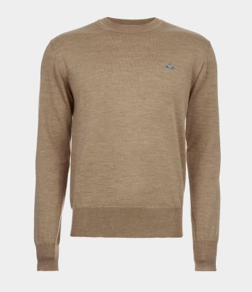 Classic knitwear roundneck, colore camel
