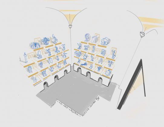 """Concept sketch dell'allestimento di Antonio Zuiani per la mostra """"I Lari"""" alla Galleria Antonio Colombo Arte Contemporanea, Milano 2018"""