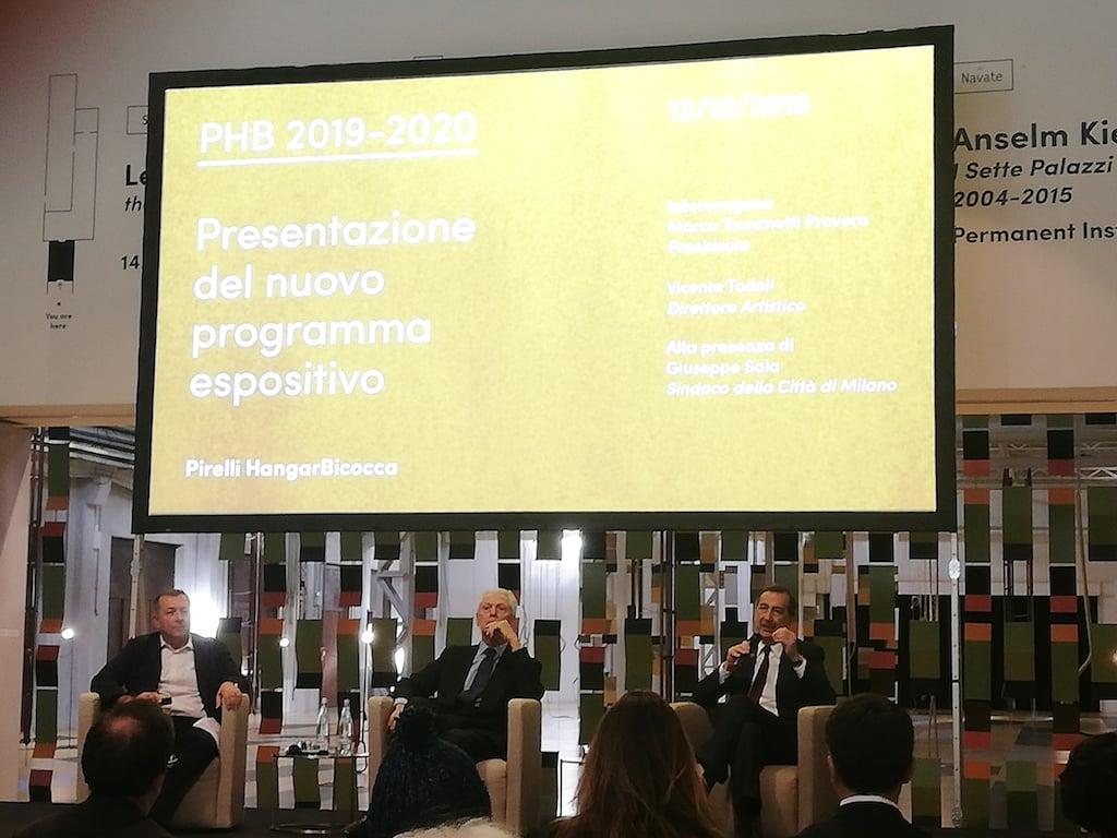 Da sinistra, Vicente Todolì, Marco Tronchetti Provera, Giuseppe Sala alla conferenza stampa di presentazione del programma mostre di Pirelli HangarBicocca 2019-2020. Photo Daniele Perra