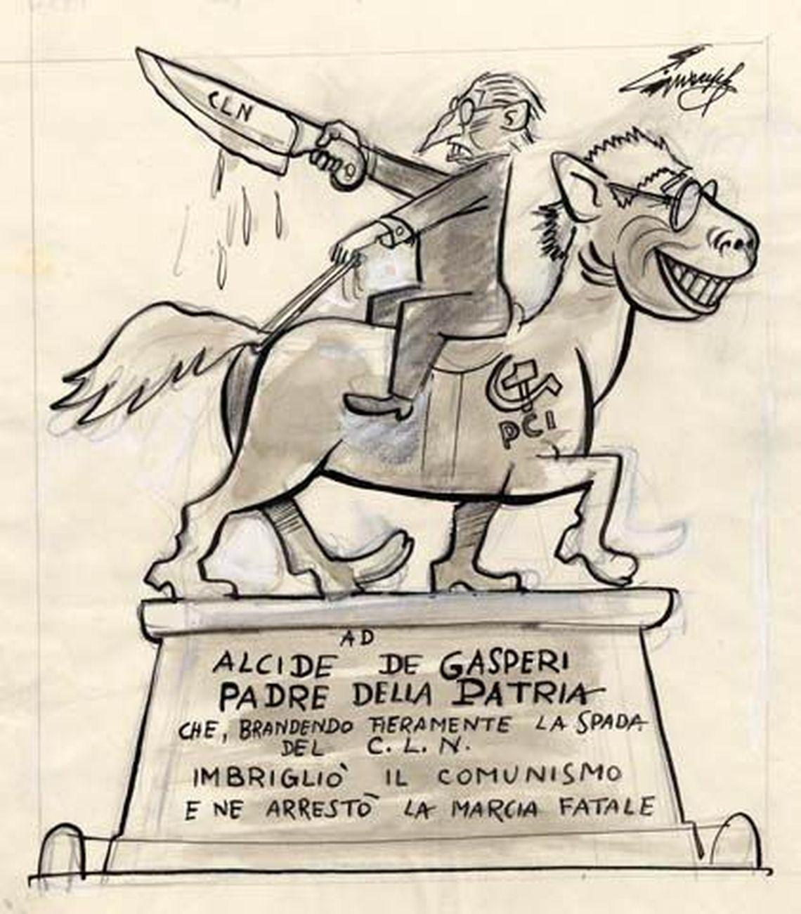 Giovannino Guareschi, Monumento equestre, 2 maggio 1954 (Candido) – Fondazione Mondadori