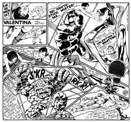 """Guido Crepax, Valentina nel Metrò. Omaggio a Stan Lee, """"Corriere di Informazione"""", 1975. Courtesy Archivio Crepax"""