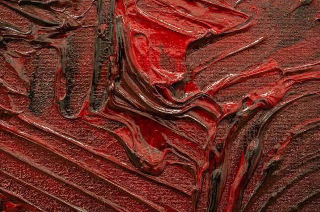 Hermann Nitsch, Schüttbild, 2014, particolare. Galleria Alberta Pane, Venezia