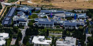 Il Google Campus a Mountain View, in California. Photo Austin McKinley via Wikipedia