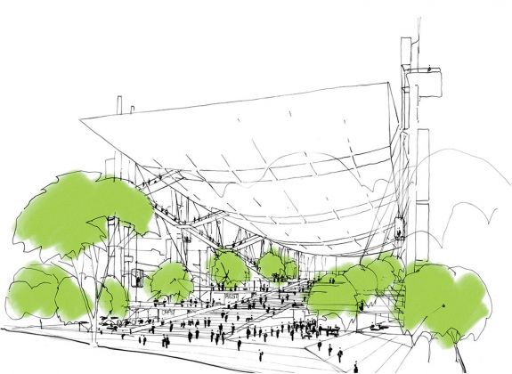 Il progetto mai realizzato per il Centro congressi di Roma di Richard Rogers. Courtesy RSHP
