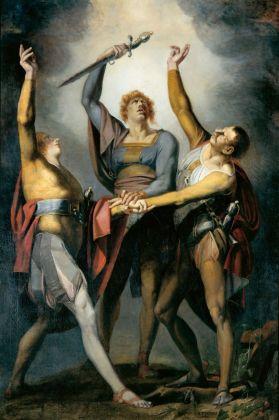 Johann Heinrich Füssli, Die drei Eidgenossen beim Schwur auf dem Rütli, 1779-81. Kunsthaus Zürich. Courtesy Kunstmuseum, Basilea
