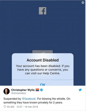 L'account sospeso di Christopher Wylie