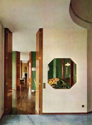 Luigi Caccia Dominioni, sistemazione di un appartamento nell'edificio di via Vigoni 13, Domus n.380, 1961, infilata dei locali lungo tutta la facciata