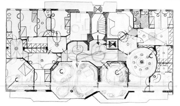 Luigi Caccia Dominioni, sistemazione di un appartamento nell'edificio di via Vigoni 13, Domus n.380, 1961, pianta dell'appartamento in uno schizzo di Caccia Dominioni