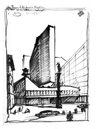 Luigi Moretti, schizzo dell'edificio di Corso Italia 13 15 17. Cittadella degli archivi e Archivio Civico del Comune di Milano