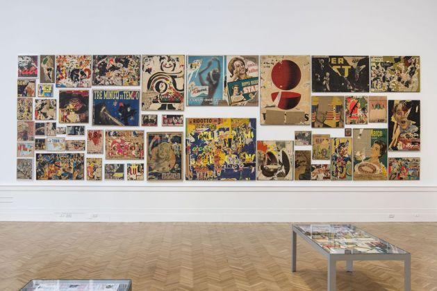 Mimmo Rotella Manifesto. Exhibition view at Galleria Nazionale d'arte Moderna e Contemporanea, Roma 2018. Photo Giorgio Benni. Insieme-manifesto degli Assemblages (1953) e dei Décollages (1954-63)