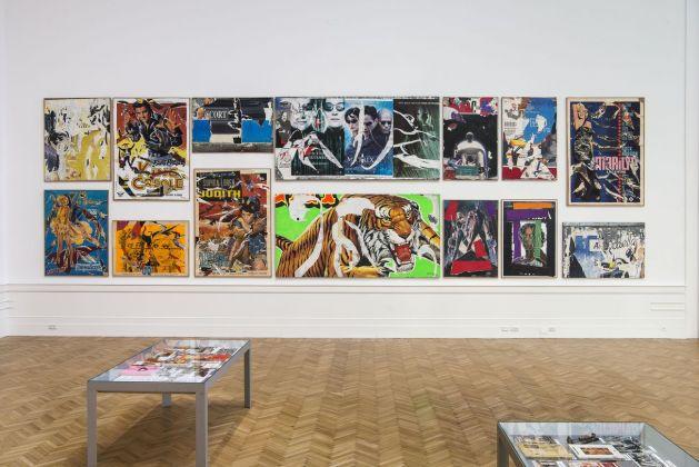 Mimmo Rotella Manifesto. Exhibition view at Galleria Nazionale d'arte Moderna e Contemporanea, Roma 2018. Photo Giorgio Benni. Insieme-manifesto dei Décollages (1992-2004) e delle Nuove icone (2003)