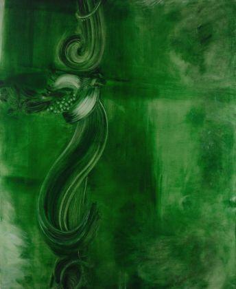Marta Sforni, Mirror Green #11, 2015, olio su tela, 135 x 110 cm