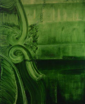 Marta Sforni, Mirror Green #15, 2015, olio su tela, 135 x 110 cm