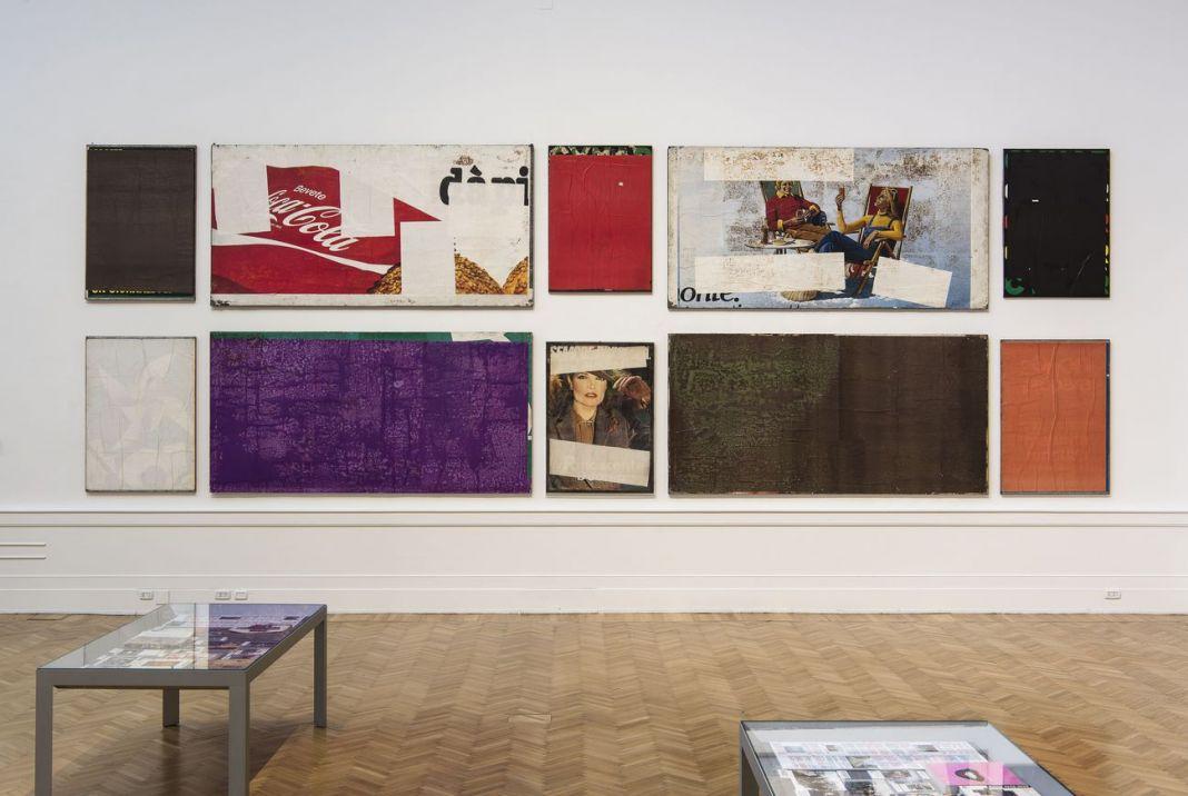 Mimmo Rotella Manifesto. Exhibition view at Galleria Nazionale d'arte Moderna e Contemporanea, Roma 2018. Photo Giorgio Benni. Insieme manifesto dei Blanks (1980-82)