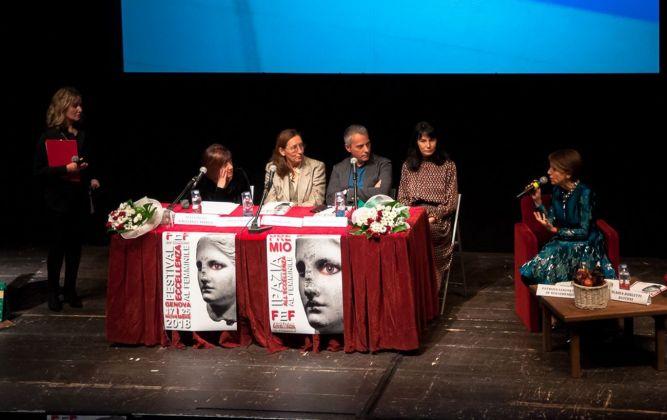 Patrizia Sandretto Re Rebaudengo e gli interlocutori della tavola rotonda. Festival Eccellenza Femminile, Genova 2018. Photo Premio Ipazia a cura di Consuelo Barilari